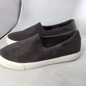 GAP dark gray faux suede loafers round toe Sz 9